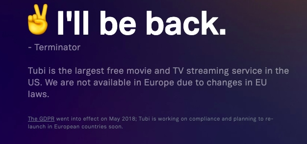 Tubi error message