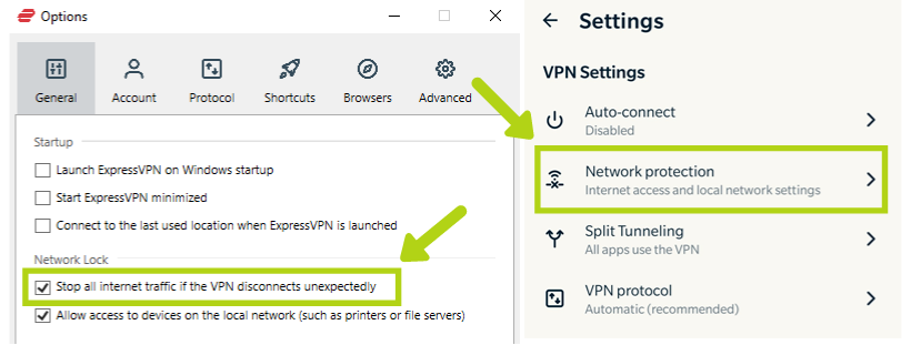 Screenshot of ExpressVPN's Network Lock feature